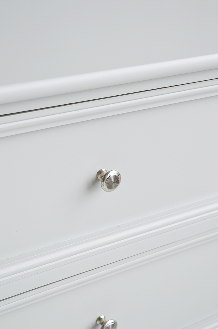 Camden Chest of Grey Drawers for Bedroom Furniture in New England, Country Coastal Country and White Interiors. Shows the silver handles and the colour of grey