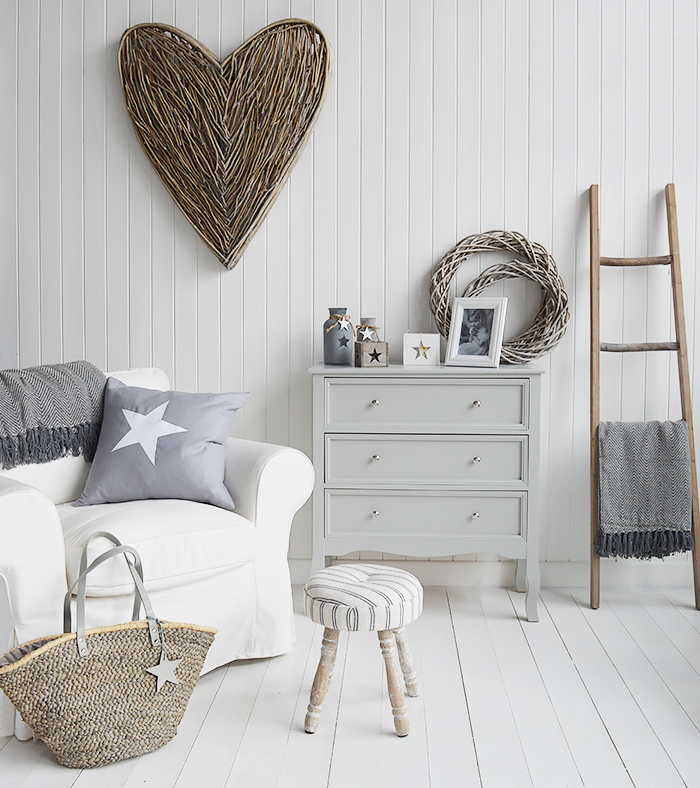 Camden Chest of Grey Drawers for Bedroom Furniture in New England, Country Coastal Country and White Interiors for living rooms