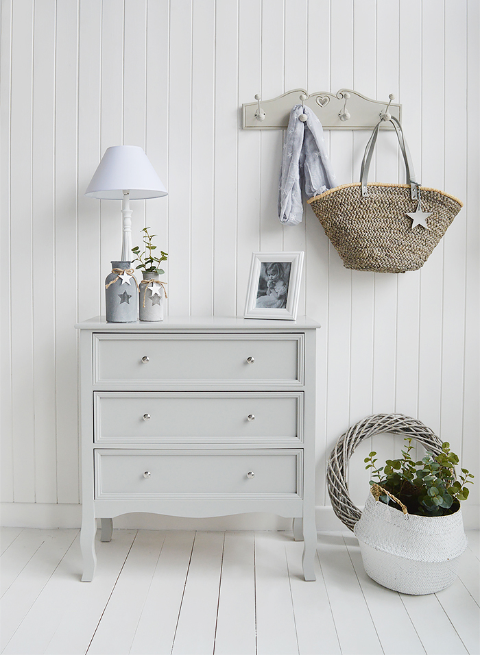 Camden Chest of Grey Drawers for Bedroom Furniture in New England, Country Coastal Country and White Interiors. Hallway Furniture