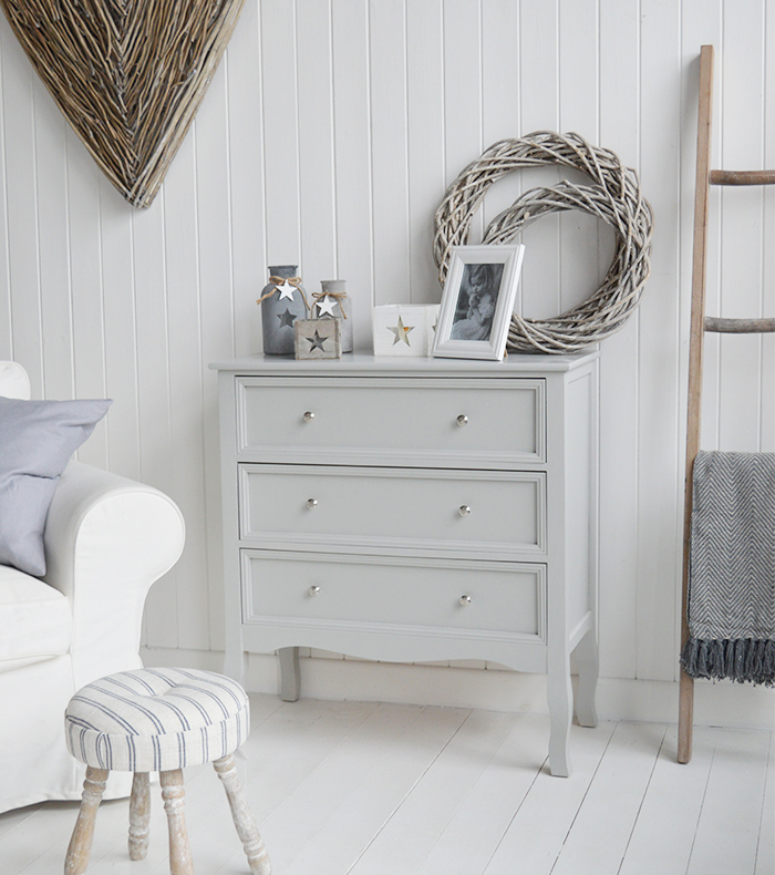 Camden Chest of Grey Drawers for Bedroom Furniture in New England, Country Coastal Country and White Interiors. Living room furniture