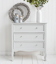 Camden Chest of Grey Drawers for Bedroom Furniture in New England, Country Coastal Country and WhiCamden Chest of Grey Drawers for Bedroom Furniture in New England, Country Coastal Country and White Interiorste Interiors