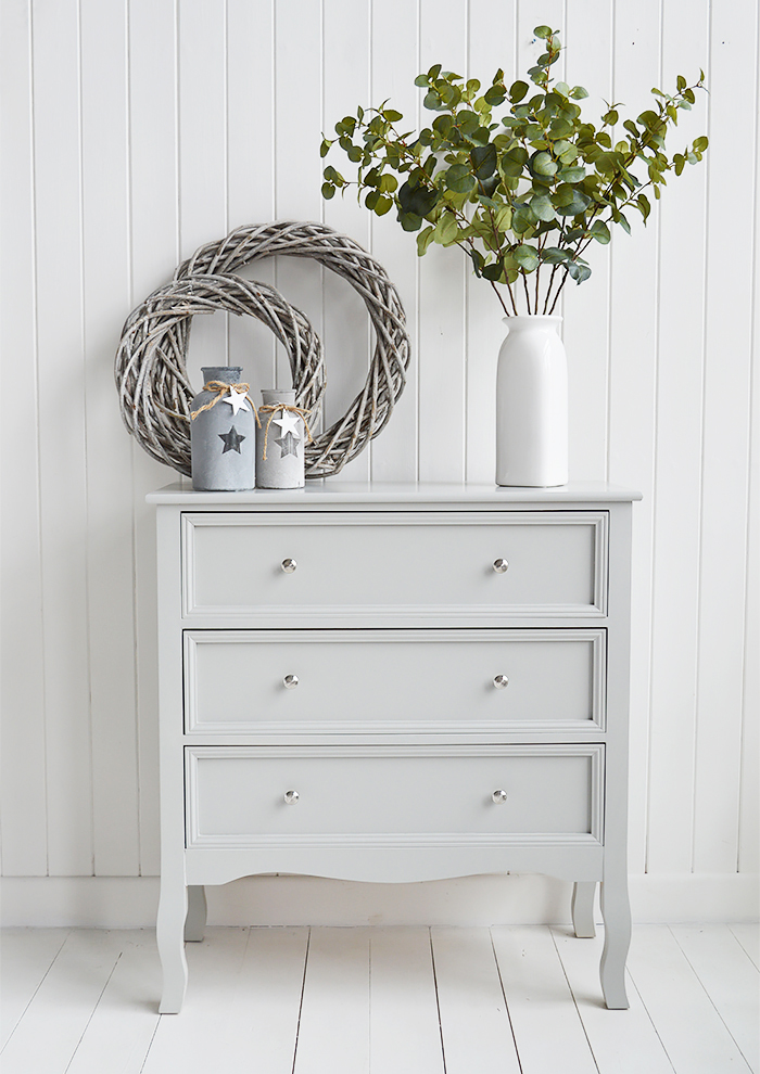 Camden Chest of Grey Drawers for Bedroom Furniture in New England, Country Coastal Country and White Interiors