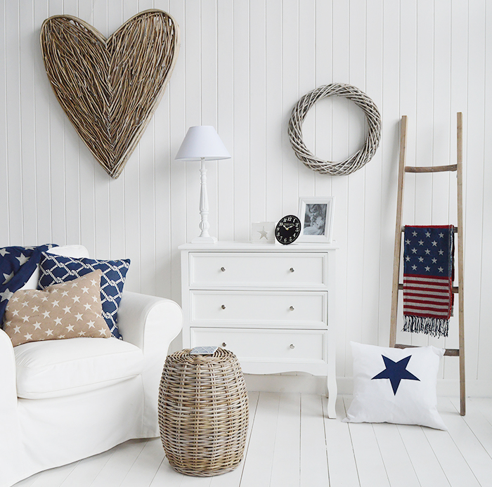 Camden Chest of White Drawers for Bedroom Furniture in New England, Country Coastal Country and White Interiors. New England Furniture