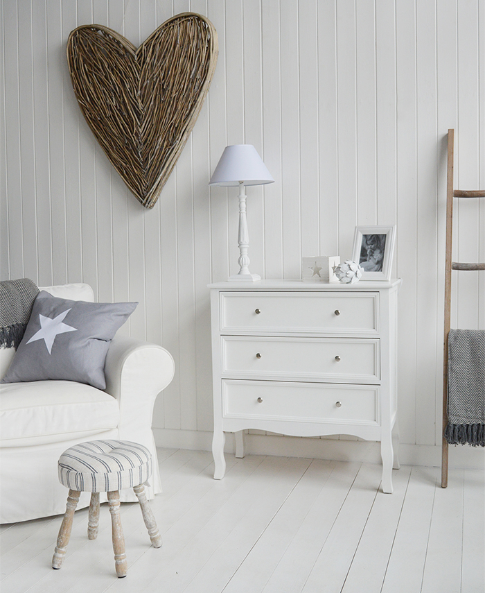 Camden Chest of White Drawers for Bedroom Furniture in New England, Country Coastal Country and White Interiors for living room furniture