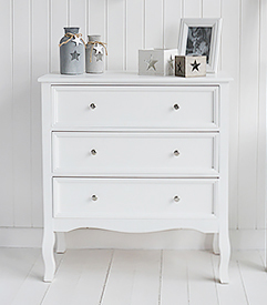 Camden Chest of White Drawers for Bedroom Furniture in New England, Country Coastal Country and White Interiors