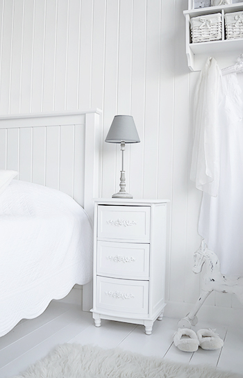 Rose white bedside cabinet with three drawers