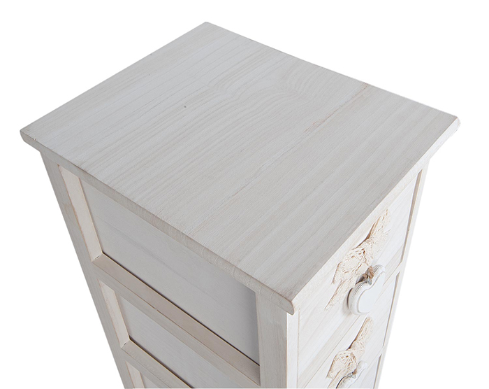 Dorset slim bedside table with 4 drawers at 20cm wide. Shown with Kensington silver lamp and black and white photos