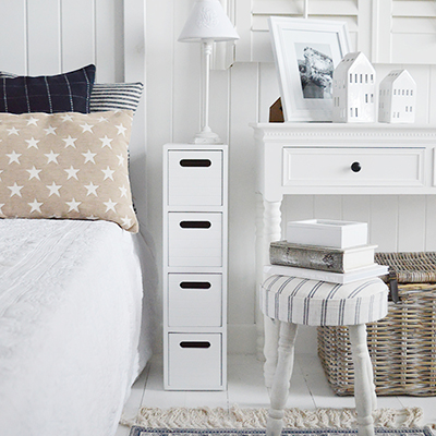 Dorset narrow bedside table in white 25cm wide slim with 3 drawers