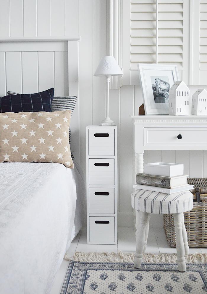 Dorset Very Narrow Slim White Bedside, White Bedroom Furniture Uk Only
