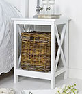 Henley white bedside table with Basket