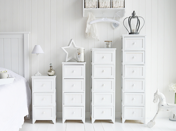Maine Range of white bedroom storage furniture, different sizes of chest of drawers