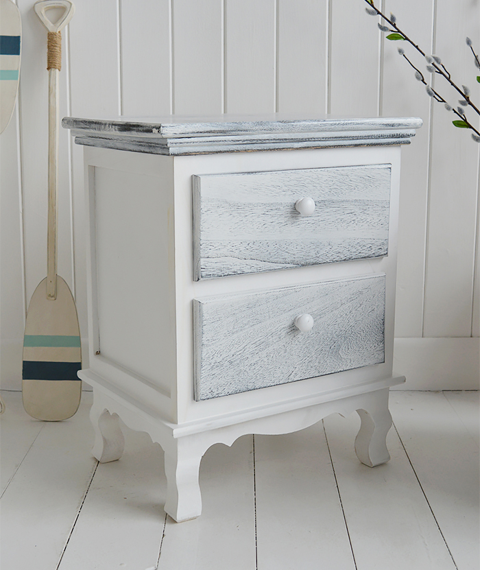 New Shoreham rustic grey and white bedside cabinet with 2 drawers for coastal interior design