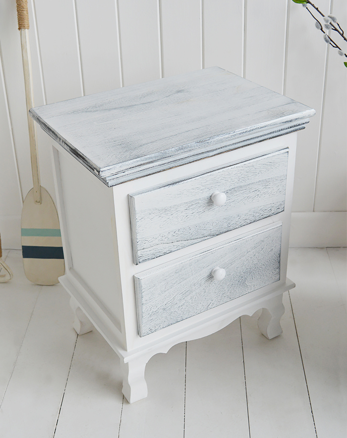 New Shoreham rustic grey and white bedside cabinet with 2 drawers for coastal and country bedroom furniture