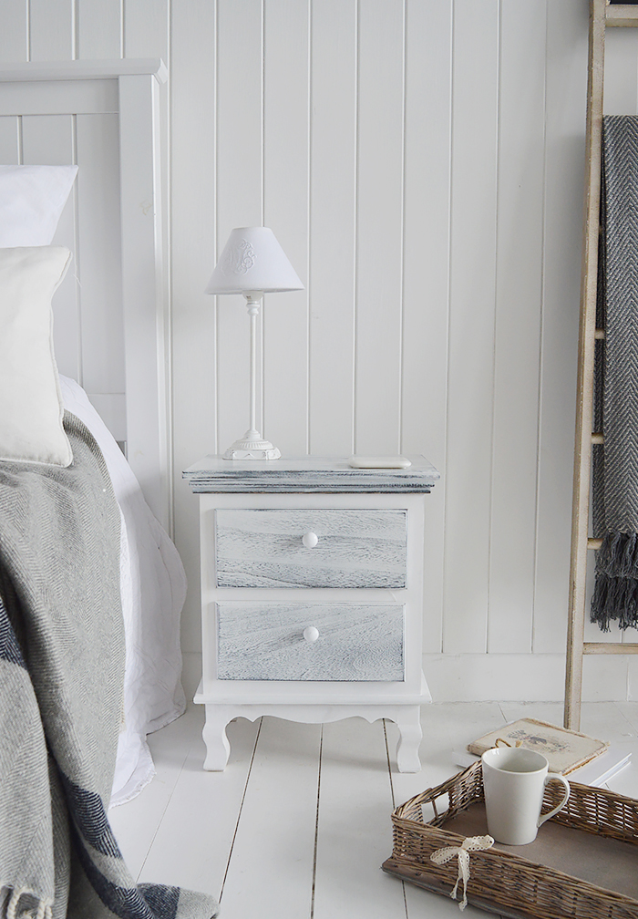 New Shoreham rustic grey and white bedside cabinet with 2 drawers for New England bedroom furniture