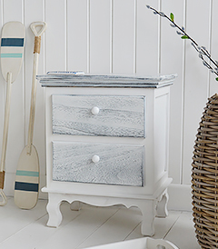 New Shoreham rustic grey and white bedside cabinet with 2 drawers for New England, coastal and country furniture