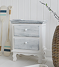 The New Shoreham wooden cabinet in distressed grey and white with two drawers