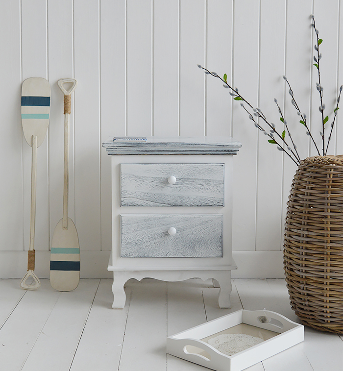 New Shoreham rustic grey and white bedside cabinet with 2 drawers