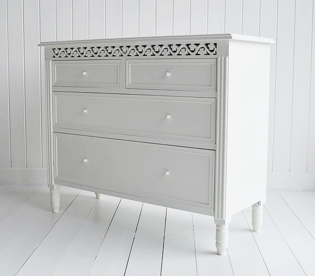 New England White chest of draws for simple bedroom storage furniture. Delivered fully assembled