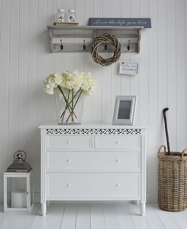 White chest of drawers for, an idea for sideboard storage in your hallway as weel as bedrooms