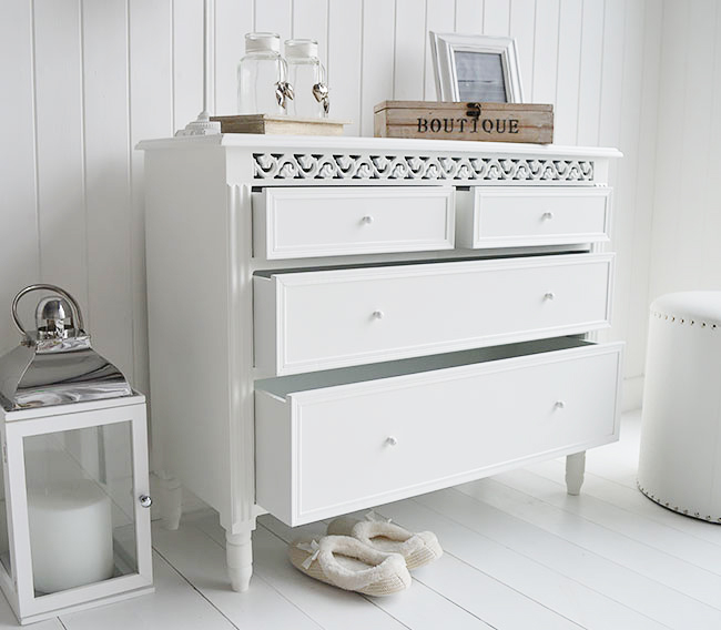 Shows the open drawers in the white chest, two smll drawers on top are perfect for underwear while the bottom are great for jumpers and t shirts