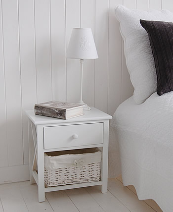 Small white bedside table with basket storage and drawer