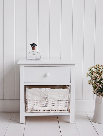 White bedside table for childrens room