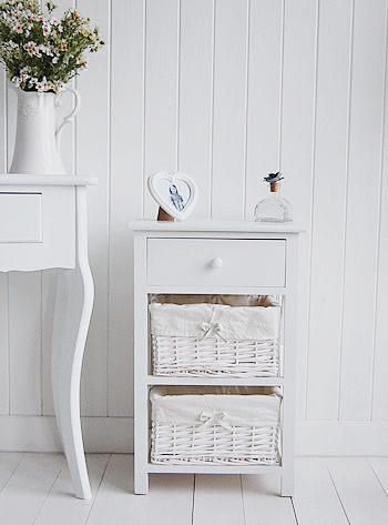 Three drawer New Haven white bedside table with two basket drawers and wooden drawer from The White Lighthouse, New England white furniture for the bedroom