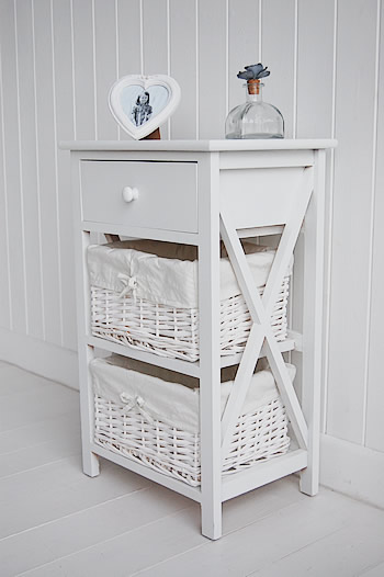 White bedside table -  New Haven three drawer bedside table