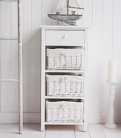 White Storage Cabinet with drawer baskets