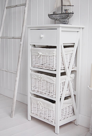 New Haven Tall White Storage Unit With Baskets The White