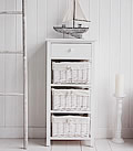 White Storage Cabinet with baskets