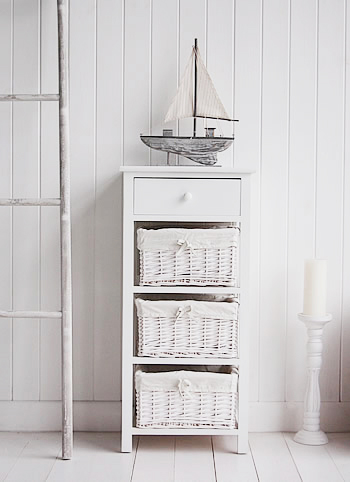 New Haven Tall White Storage Unit With Baskets White Bedroom Furniture