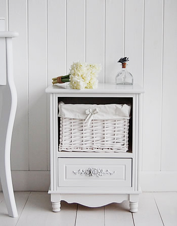 Rose White Bedside table, an ideal in a smaller bedroom or childrens room. The basket nad drawer give lots of storage