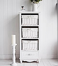 Rose White Storage Cabinet with 4 drawers