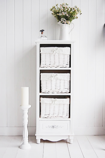 Ros tall white bathroom storage with baskets