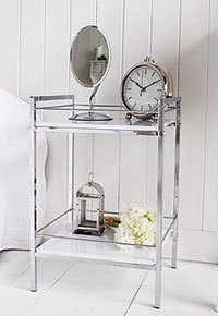 White and silver bedside table