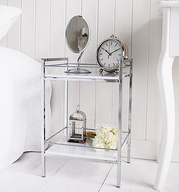 White And Chrome Small Bedside Table White Bedroom Furniture