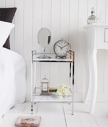 White and chrome shelf bedside table