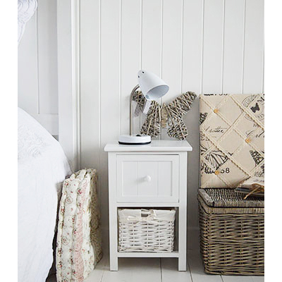 Bar Harbor small white narrow bedside table with basket and drawers