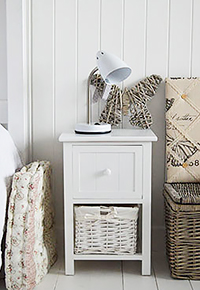 25cm wide narrow bedside table in white