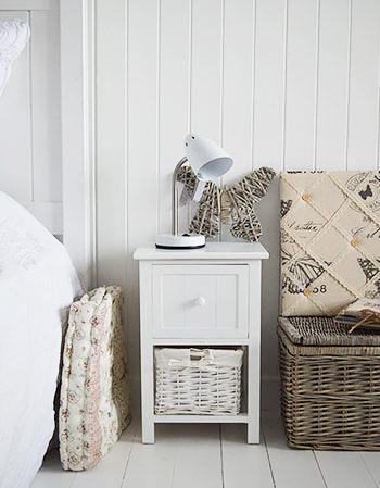 White Bar Harbor small narrow white 25cm bedside table