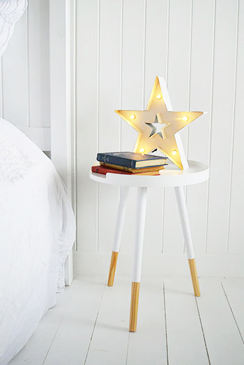 Scandi style white bedside table