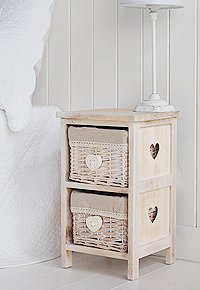 Narrow 25cm small heart bedside table