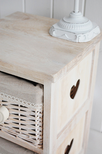 close view of the narrow  25cm bedside table