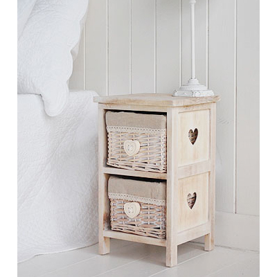 Narrow natural heart bedside table with baskets 25cm wide