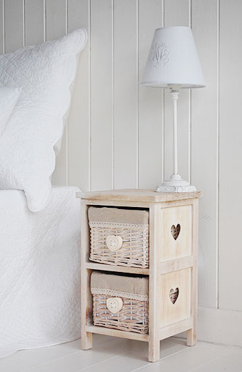 Narrow small bedside table with basket drawers 25cm wide