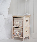 Narrow bedside table 25 cm bedside with baskets