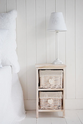 Wood narrow bedside table at 25cm  wide