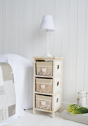 Sweetheart narrow bedside table with baskets, 25cm wide