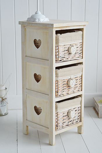 Narrow bedside table 25cm with cut out hearts